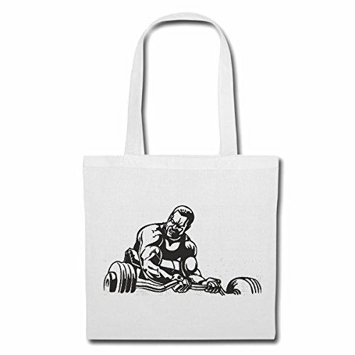 Tasche Umhängetasche Bodybuilder MIT KURZHANTEL Bodybuilding Gym KRAFTTRAINING FITNESSSTUDIO Muskelaufbau NAHRUNGSERGÄNZUNG Gewichtheben Bodybuilder Einkaufstasche Schulbeutel Turnbeutel in Weiß