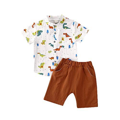 Hailouhai Peuter Baby Leuke Jongen Kleding, Zomer Korte Mouw Cartoon Dinosaur Patroon T-Shirt Top+Korte Broek 2 Stks Outfits Set
