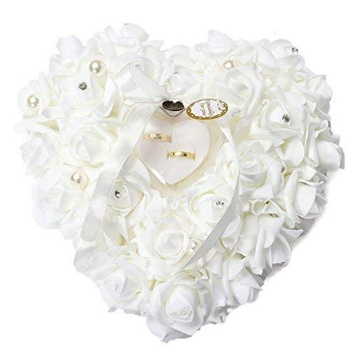 ZJchao, Cuscino per FEDI Nuziali, 15 x 13 cm, a Forma di Cuore, Stile Romantico, Decorato con Rose, per Matrimonio portafedi