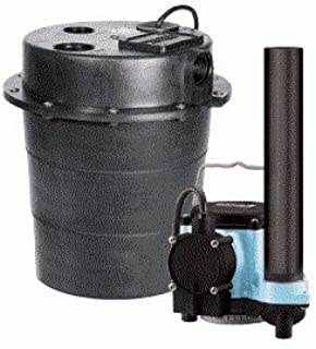 Little Giant 506055, WRS-6 1/3 hp Sump Pump with Integral Diaphragm Switch 5 Gallon Tank & 10 ft. Cord, 115V - 60Hz