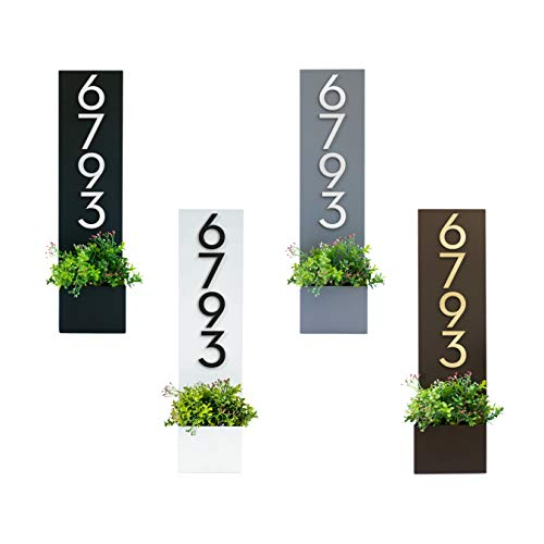Standing Tall Personalized Address Planter Box   Uniquely Identify Your Home   Powder Coated   Weather Resistant   Modern   House Numbers (White) - Made In The USA