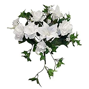 White Gardenia Tiger Lily Ivy Bouquet Silk Wedding Flowers Centerpieces Artificial OSW01