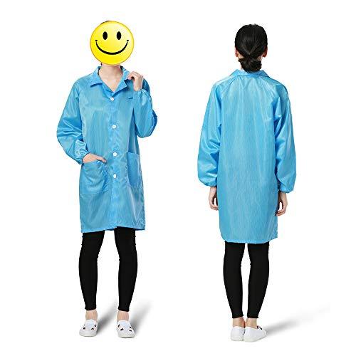 Fesjoy Arbeitskleidung, antistatisch saubere antistatische Kleidung Staubdichter Arbeitsschutz Kleidung für Lebensmittelhändler Medizinisches Farbspritzen Arbeiter (Blau Größe: M)