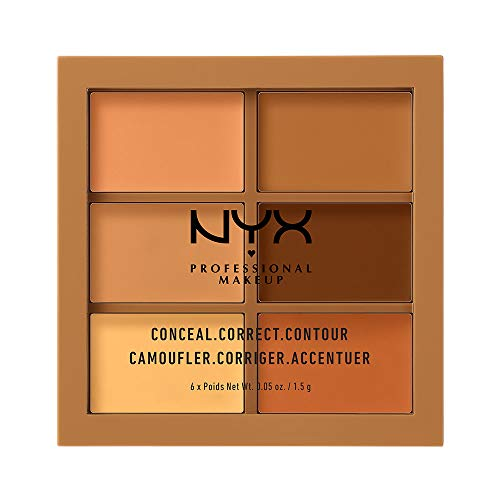 NYX Professional Makeup Conceal, Correct, Contour Palette, Sechs Farbtöne, Cremige Textur, Untertöne, Farbton: Deep