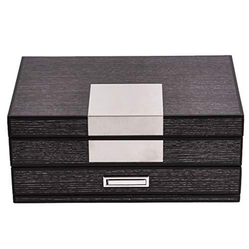XPHZHQ-box Caja Joyero De Madera Retro con Espejo De Maquillaje 2 Capas De Vestido Multiusos Mujeres Tocador +