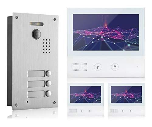 GVS 2-Draht/IP Video Türsprechanlage, 3 Familienhaus Set, Handy-App, 3X 7 Zoll Monitor, Tür-Öffner, Foto-/Video-Speicher, Türstation, 2 MP Kamera, 170° Erfassungswinkel, AVS7038-7071-33