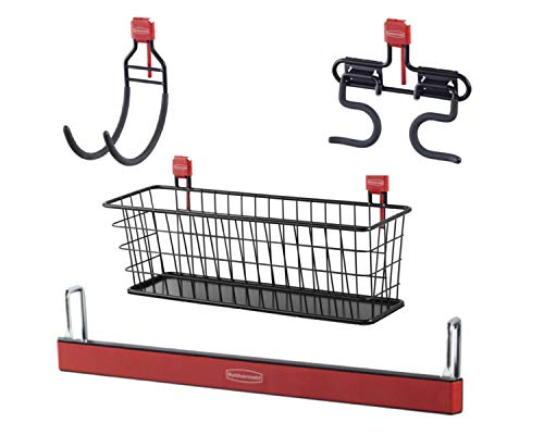 Rubbermaid Shed Large Accessory Kit with Wire Basket, Magnetic Strip, Hose Holder and Multi-Purpose Utility Hook, Shed Organization and Storage System