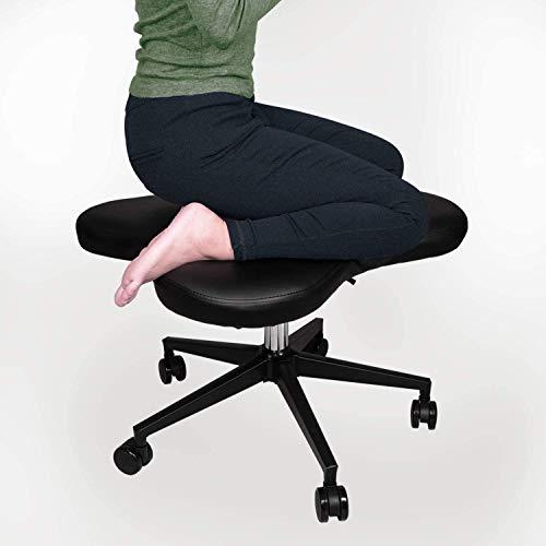 Cross Legged Kneeling Chair for Ergonomic Posture Corrective Seat, Meditation Seat (Black)