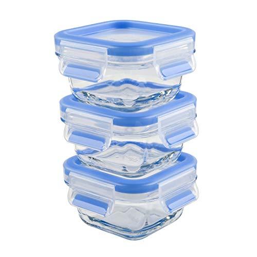 Emsa 515988 Clip & Close Glas Frischhaltedosen | 3er Set | 3 x 0,2 L | Quadratisch | 100%Dicht | Baby-Set | Erfüllt Baby Care Norm | BPA-Frei | Frische Dichtung, Blau