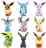 MAZ 9 Pcs Eeveelution Pokemon Peluche Toys Eevee Glaceon Lefeon Umbreon Espeon Jolteon Vaporeon Flarebeon Sylveon para Niños Regalo de Cumpleaños