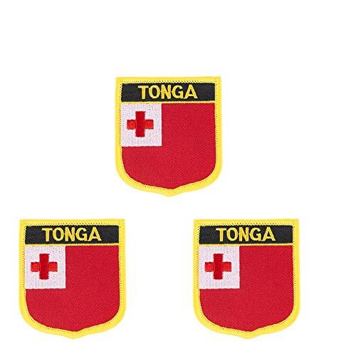 Aufnäher, Motiv: Tonga Island-Flagge, bestickt, zum Aufbügeln, 3 Stück