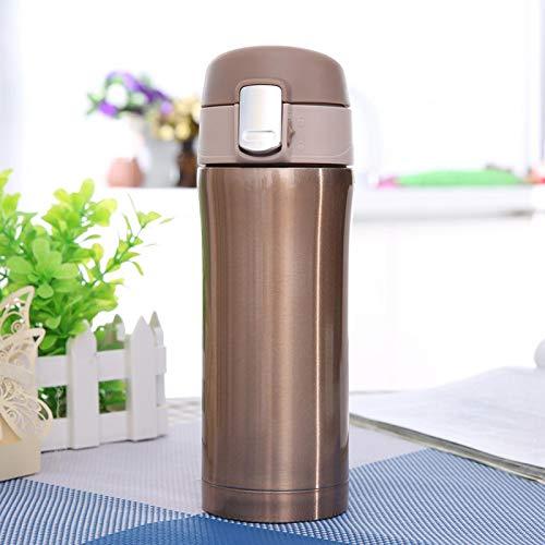 Garrafa térmica, isolada a vácuo para 350 ml de café chá, exterior de aço inoxidável para o escritório em casa(Golden)