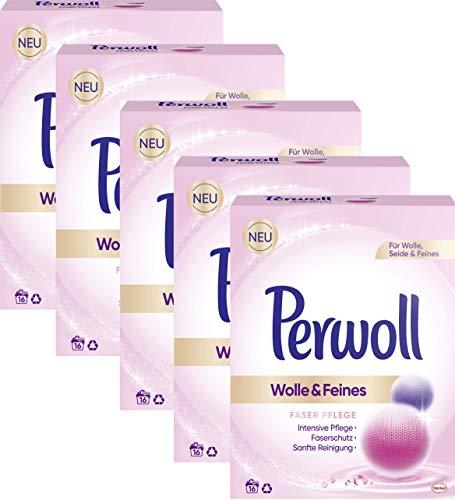 Perwoll 5er Pack Wolle & Feines, Faser Pflege Pulver für Wolle, Seide und Feines 80 (5x16) Waschladungen