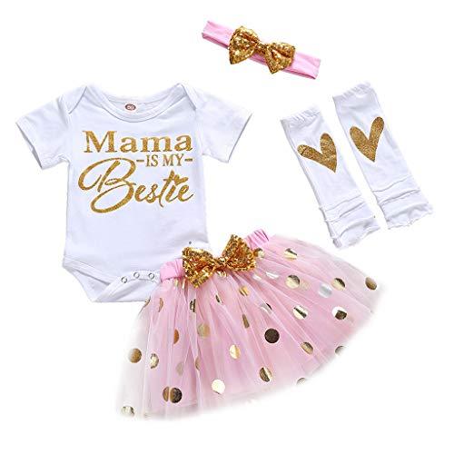 erthome Tenues bébé Fille, Lettre du Jour de la Mère imprimée T-Shirts Jupe Courte 3-24Mois (3-6 Mois)