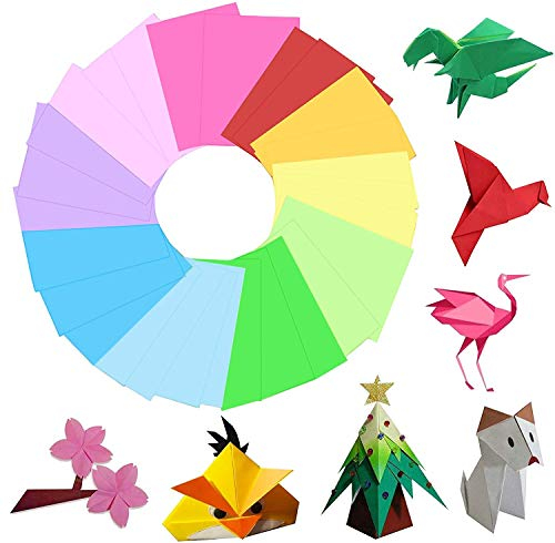 Hbsite Carta origami 100 fogli Quadrato 7,9 pollici bifacciale 10 colori vivaci per progetti di formazione e artigianato per principianti