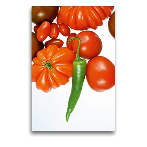 Premium Textil-Leinwand 50 x 75 cm Hoch-Format Tomatensorten mit grüner Chili | Wandbild, HD-Bild auf Keilrahmen, Fertigbild auf hochwertigem Vlies, Leinwanddruck von Gerhard Kraus