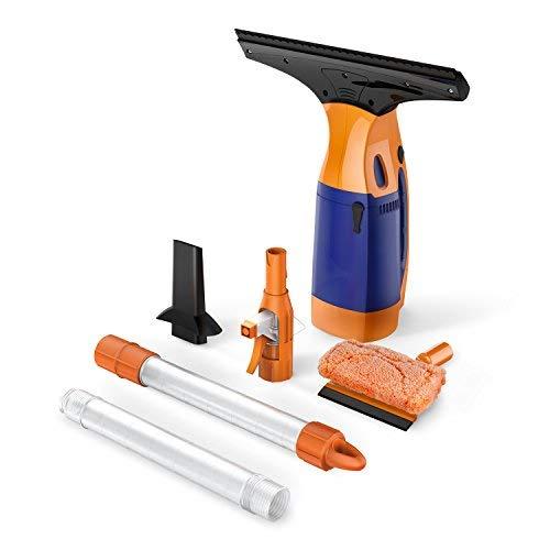 Fenstersauger/Fensterreiniger/BESTEK Akku Fenstersauger mit Stiel/wechselbarer Düse,Fensterreiniger für Fenster, Einwascher, Abziehlippe und Sprühflasche,Fensterputzer-Set in Orange