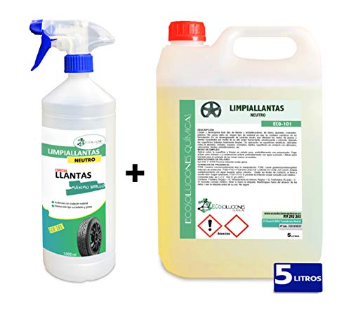 Ecosoluciones Químicas ECO-101 | 5 litros | Limpia Llantas Profesional Neutro | Elimina Suciedad sin Esfuerzo | Incluye PULVERIZADOR