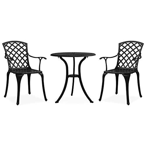 vidaXL Bistroset 3-TLG. Balkonset Gartenmöbel Sitzgruppe Balkonmöbel Gartenset Gartentisch Gartenstuhl Tisch Stühle Aluminiumguss Schwarz