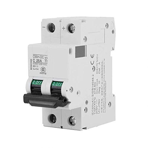 BEVANNJJ ZYY Disyuntor de CC 250V Circuito, Disyuntor Miniatura 2P Montaje en Carril DIN Circuito de bajo Voltaje, Paneles solares Interruptor de cuadrícula Sistema Eléctrico Cut Off (25A)