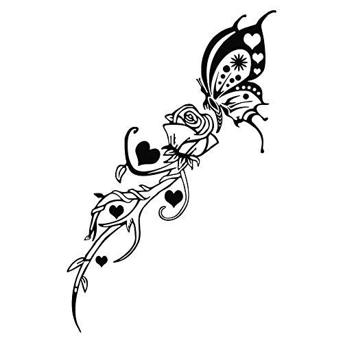 ZHXMD Hermosa Rosa Mariposa Etiqueta Engomada del Coche Elegantes Calcomanías De Vinilo para Motocicleta Negro 9.9 * 15.2Cm