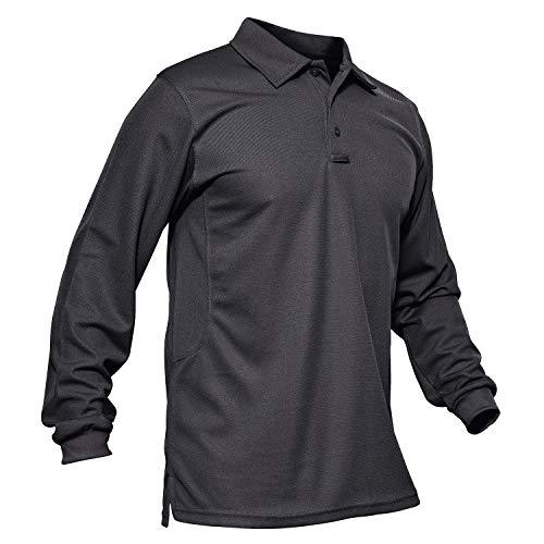 KEFITEVD Homme Polo à Manches Longues à Séchage Rapide T-Shirt de Sport Poids Léger Printemps Gris