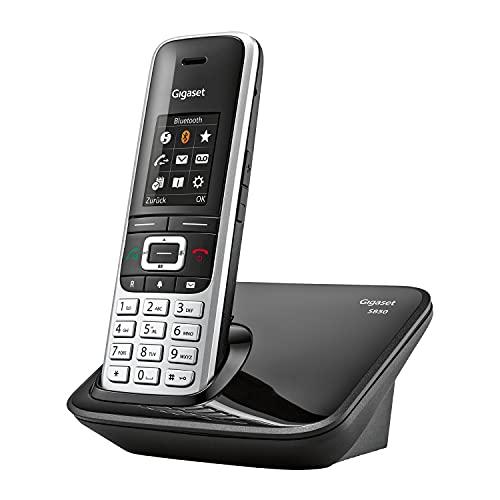 Gigaset S850 - Schnurloses Telefon ohne Anrufbeantworter - extragroßes Adressbuch - Headsetanschluss & Reichweitenwarnton - Freisprechfunktion - optisches Signal für entgangene Anrufe, platin-schwarz