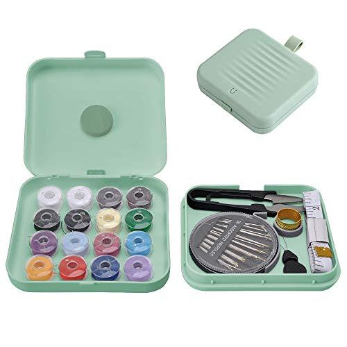 Kit Cucito Magnetica, Mini Sewing Machine Kit Organizer Box Set Travel, Kit Aghi Cucito Professionale Bambina DIY per Viaggio Casa, Piccolo Accessori da Cucire Scatola Portafilo Portatile (Verde)