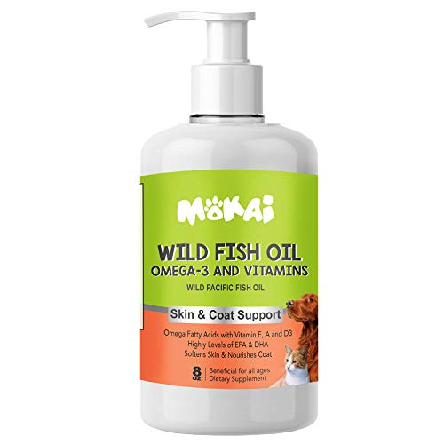 MOKAI Omega 3 Fish Oil for Dogs and Cats | Dog Fish Oil Omega 3 Fatty Acid Supplements with EPA + DHA and Vitamin E A and D3 for Dog Shedding  Itch Relief for Dogs  and Dog Allergy Relief