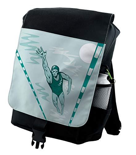 Lunarable Olympics Backpack, Male Swimmer Sports Race, Durable All-Purpose Bag