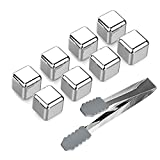 Stainless Steel Ice Cubes,Reusable Chilling Whiskey Stones with Freezing Tray & Tongs, FDA Approved (Pack of 8)