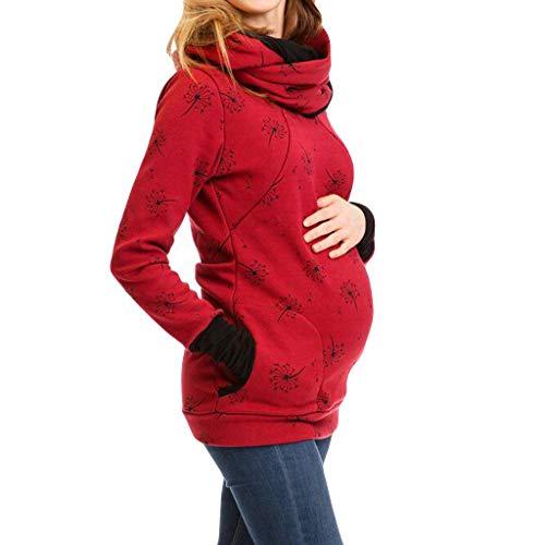 STRIR Mujer Sudaderas Lactancia Capucha Ropa Premamá Maternidad Vestido Embarazada Camisas Bolsillo Tops Bufanda multifunción + Bolsillo Colgante (M, Rojo Vino)