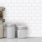 "Art3d 10-Sheet Peel and Stick Tile Backsplash - 12""x12"" Premium Kitchen Backsplash Peel and Stick Tile, White"