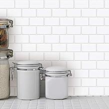 """Art3d 10-Sheets Peel and Stick Tile Backsplash - 12""""x12"""" Premium Anti Mold Kitchen Backsplash Peel and Stick Tile, White"""