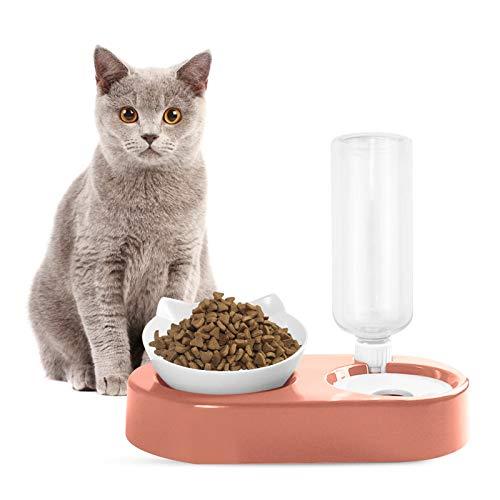 CYJZHEU Automatischer Futternapf und Wasserspender für Katzen und Hunde, Futternäpfe Katzenfutter Auslaufsicherer Futterspender Trinkbrunnen mit Flasche 15° Geneigt Einstellbarer Winkel (Rosa)