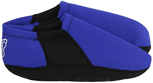 NuFoot Booties Mens Shoes, Foldable & Flexible Footwear, Fold and Go Travel Shoes, Yoga Socks, Indoor Shoes, Slippers, Royal with Black Stripe, Extra Large