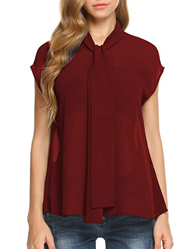 Womens Bow Tie Neck Chiffon Blouse Top Cap Sleeve Work Office Elegant Shirt Plus Size (Wine Red, L)