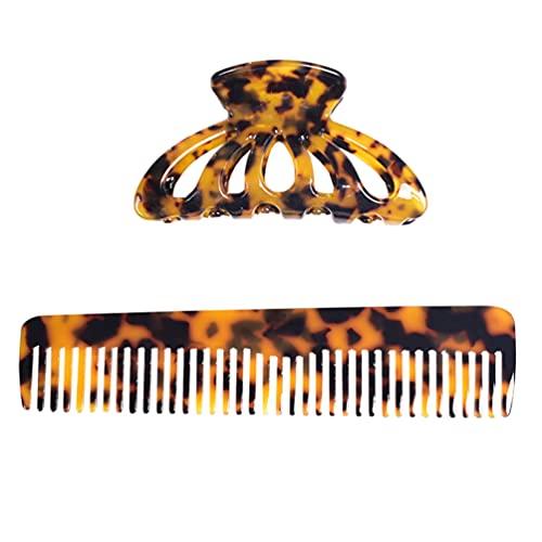 FRCOLOR 2 Piezas Clip de Pinza de Pelo Acrílico Leopardo Pasador Clip de Mandíbula Antideslizante Soporte de Cola de Caballo Peine de Pelo Accesorios para El Cabello para Mujeres Chicas