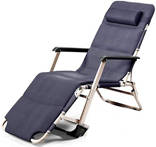 OESFL Silla reclinable Gravedad Cero al Aire Libre for Servicio Pesado Gente, Patio Tumbona reclinable for Tomar el Sol, la Playa de Apoyo 330lbs (Color : Gray+Comfortable Cotton Pad)