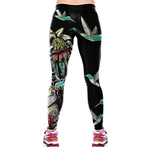 Azly Haut Pantalon Yoga Taille, Pantalons D'entraînement Imprimé Numérique 3D, Caleçon Slim Sport, Courir pour Les Femmes Fitness Training,T,L