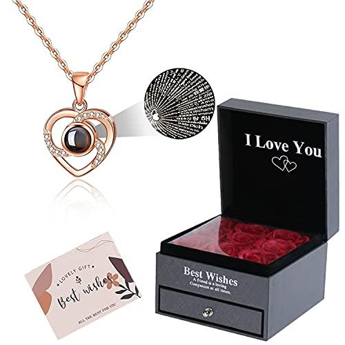 Rosa Real preservada con Collar I Love You Caja de Regalo en 100 Idiomas,Regalos Románticos para Esposa Novia San Valentín Día de la Madre Aniversario de Bodas Cumpleaños Navidad.