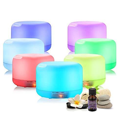 Humidificador Difusor de Aromaterapia de 500 ml ACEITE INCLUIDO + CONTROL REMOTO, 14 colores LED. Difusor aceites esenciales, silencioso, ultrasónico + ACEITE