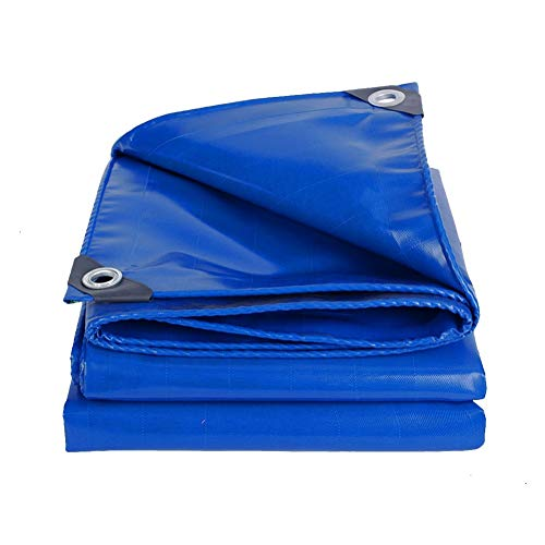 AGLZWY PVC Heavy Duty Waterproof Tarp Covers, Thicken Tarpaulin Shade Sunshield Protect Cover For Outdoor Garden Furniture, Pool, Car, Truck, Camping, 23 Sizes (Color : Blue, Size : 7.7X9.7M)