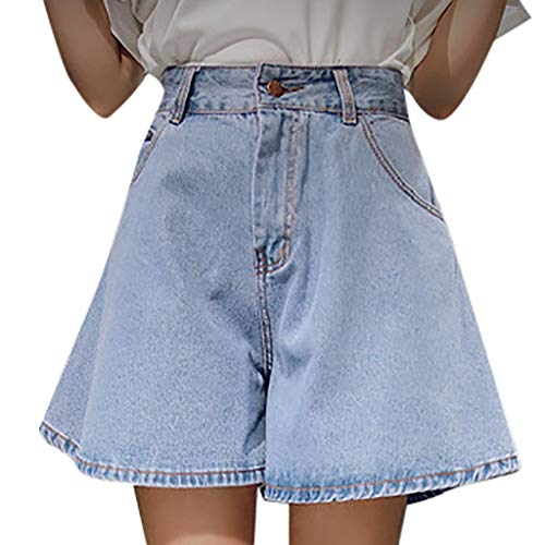 Dtuta Jeanshosen Damen High Waist Frauen Hohe Taille Weites Bein Lose Einfache Einfarbige Wilde LäSsige GekräUselte DüNne Jeansshorts Tasche