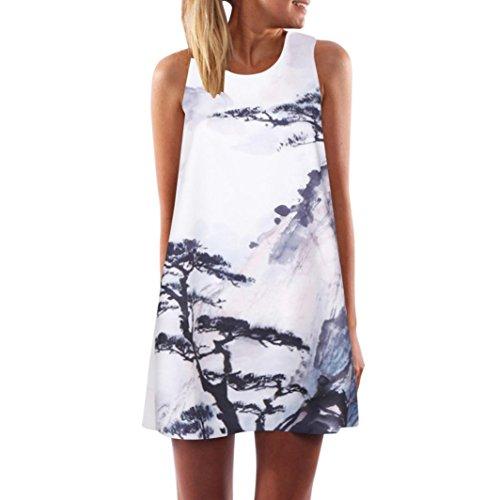 VEMOW Vintage Boho Frauen Sommerkleider Sleeveless Strand Gedruckt Kurzes Minikleid Eine Linie Abendkleid Täglich beiläufige Partei Weste T-Shirt Kleid Plus Size Rock(X1Weiß 12, 46 DE/XL CN)