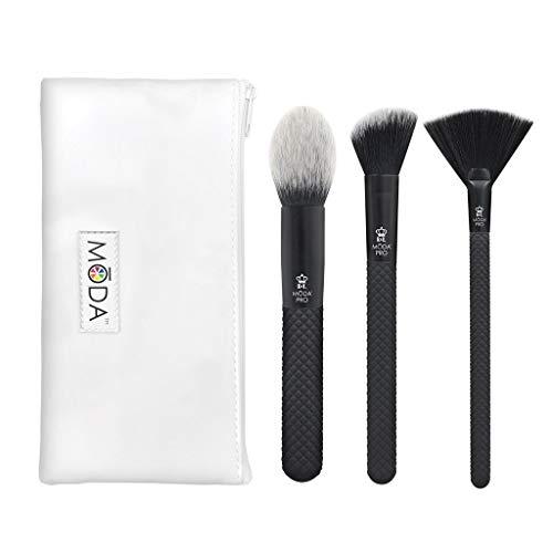 MODA Royal & Langnickel Pro Lot de 4 pinceaux de maquillage avec pochette inclus – Blush pointu, fard à joues angulaires et pinceaux de surbrillance Noir