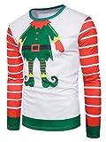 WZhen Crew Neck Christmas Cartoon Figure Print Ugly T-Shirt - Colormix XL