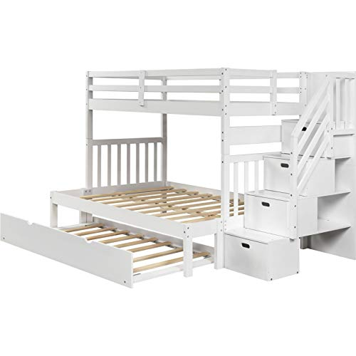 LXZWAN Plywood+Pine Wood Twin Over Twin/Full Bunk Bed with Twin Size Castor Bed and 4-Step Staircase/Full-Length Guardrail Suitable for Family Bedroom or Apartment Dormitory No Need for Spring Box