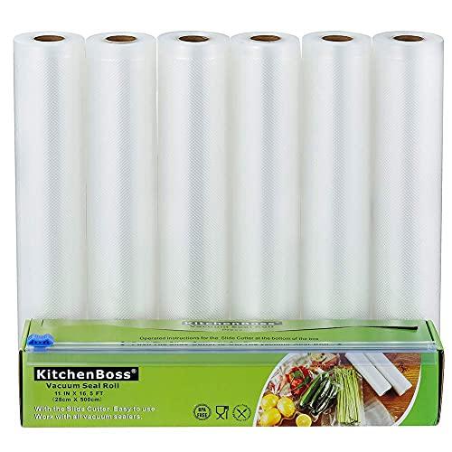 KitchenBoss Bolsas de Vacío Profesional 6 Rolls 28x500cm con Caja de Corte (No Más Tijeras) para Almacenaje de Alimentos, Sous Vide Cocina, BPA Free