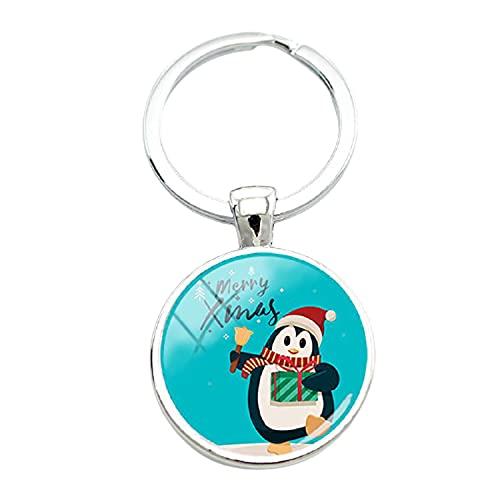 Buon Natale Carino pinguino Vetro foto portachiavi ciondolo cartone animato portachiavi borsa Accessori nuovo anno regalo di Natale